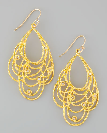 Floral Golden Lace Drop Earrings