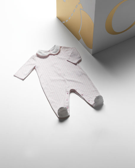 GG Long-Sleeve Sleepsuit, White/Pink