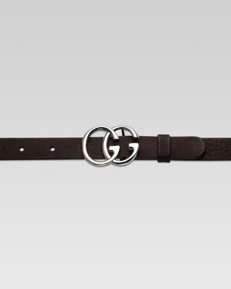 Children's Double G Buckle Belt, Dark Cocoa