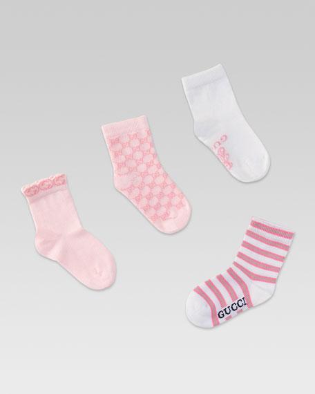 Set of Four Baby Logo Socks, Pink