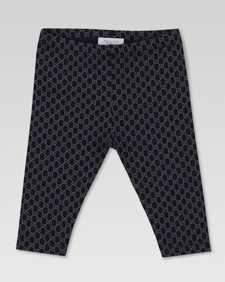 Mini GG-Print Leggings, Navy/Gray