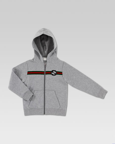 Web-Print Hooded Sweatshirt, Light Gray/Melange