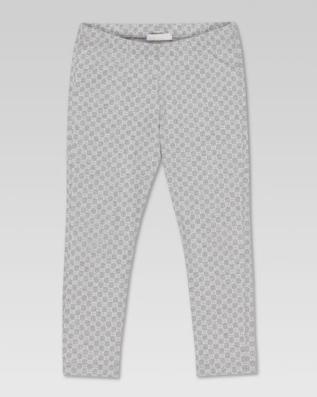 Mini GG-Print Leggings, Light Gray Melange/White