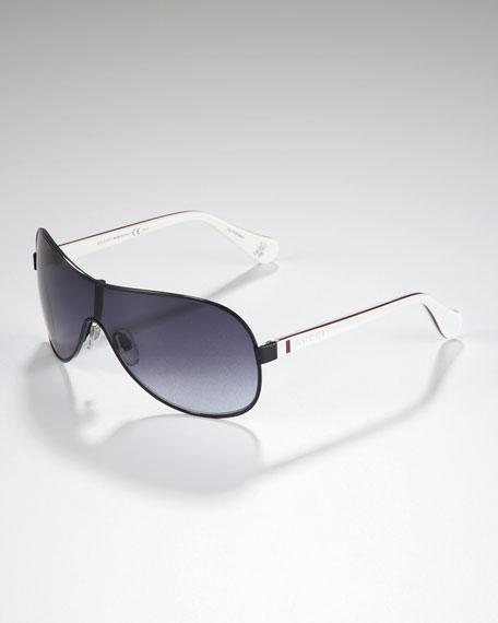 Children's Metal-Rimmed Shield Sunglasses, Blue/Red/White/Blue