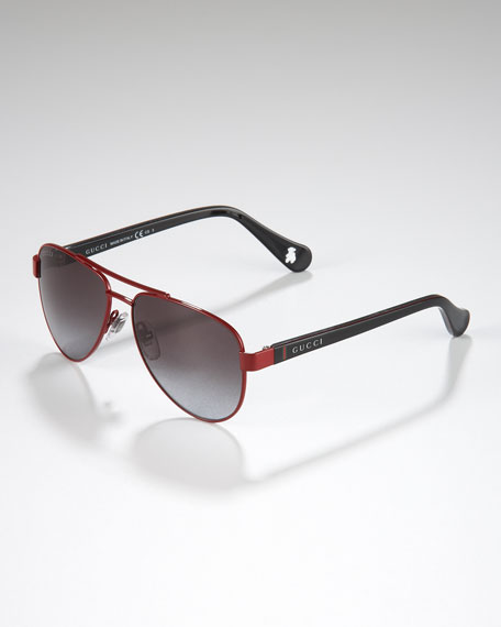 Children's Classic Aviator Sunglasses, Red/Black/Green