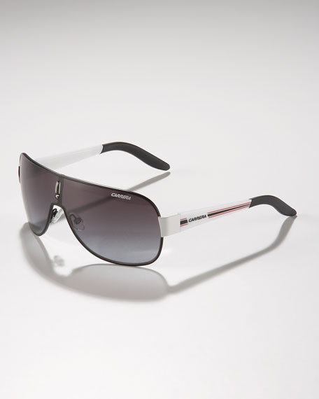 Children's Classic Carrerino Shield Sunglasses, Black/White