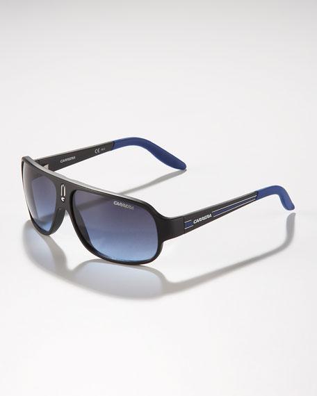 Children's Mid-Size Classic Carrerino Sunglasses, Black/Blue