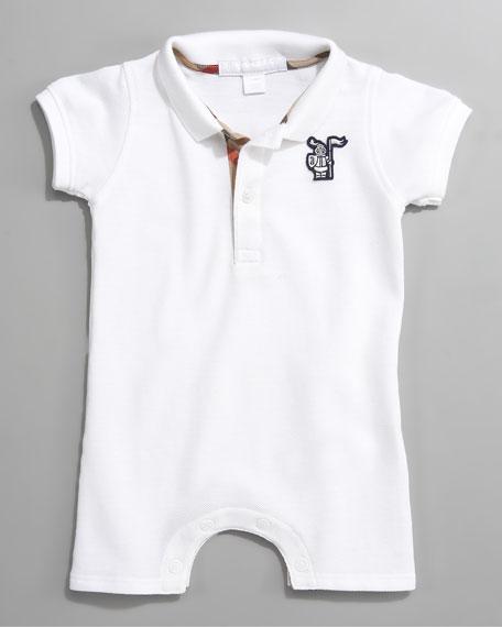 Short-Sleeve Polo Bodysuit, White