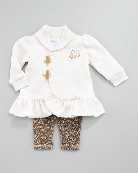 Fleece Tunic & Floral-Print Leggings Set, 3-9 Months