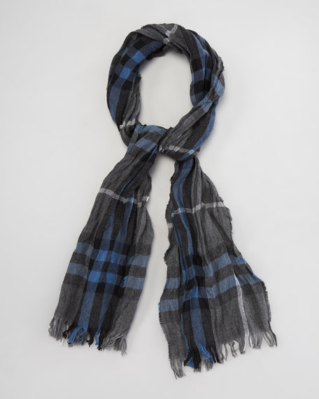 Crinkled Exploded Check Scarf