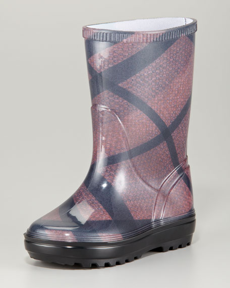 Brit Check Rain Boots Sizes 23-26, Clove Red
