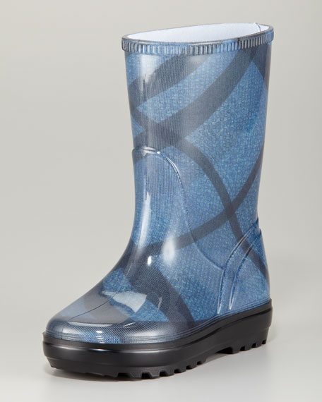 Brit Check Rain Boots Sizes 27-36, Petrol Blue