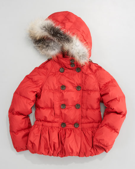 Fox-Trim Puffer Jacket, Sizes 7-10