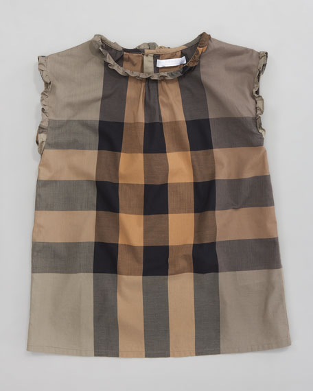 Giant Exploded Check Blouse, Military Khaki