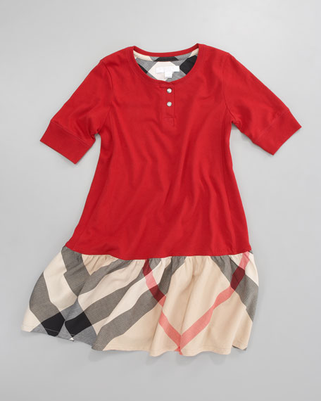 Henley Check-Skirt Dress, Military Red