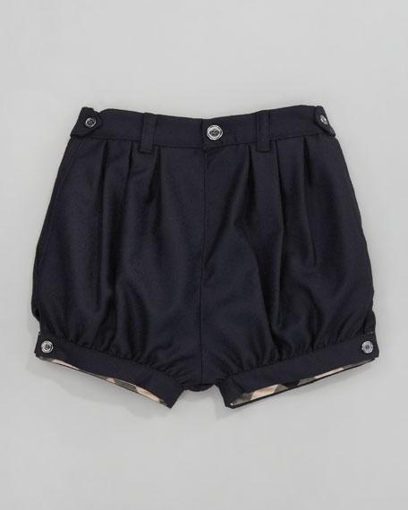 Gathered Wool Shorts