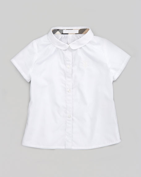 Check-Lined Short-Sleeve Button-Down Shirt