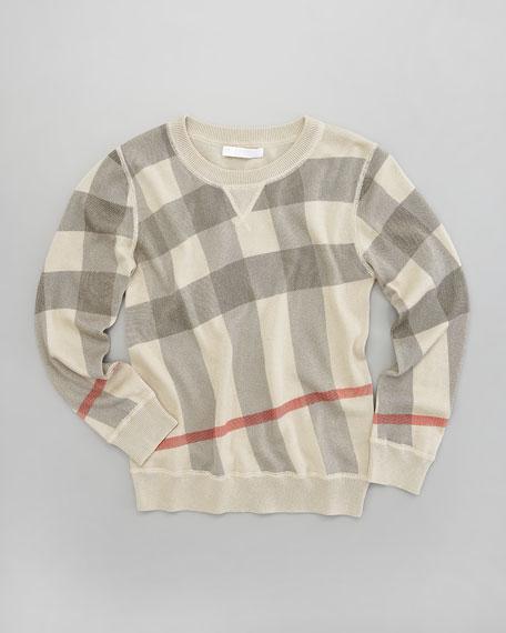 Printed Check Crewneck Sweater