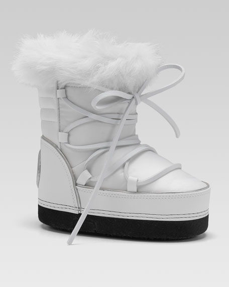 Rabbit-Trim Snow Boot, White