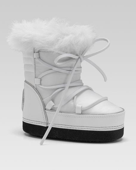 Rabbit-Trim Snow Boot, White