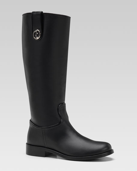 Leather Riding Boot, Black