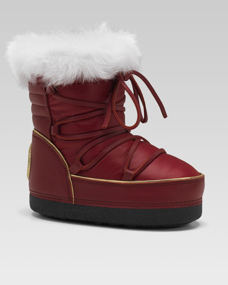 Rabbit Fur-Trim Snow Boot, Red