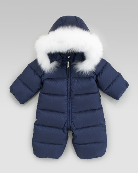 Mini Fur-Trimmed Snowsuit, Blue