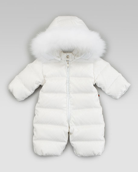 Mini Fur-Trimmed Snowsuit, White
