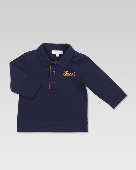 Gucci Patch Long-Sleeve Polo