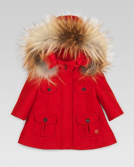 Fur-Trim Parka, Berry Red