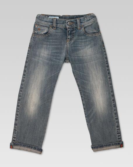 Stone Bleach Straight-Leg Jeans