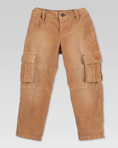 Stone-Washed Corduroy Cargo Pants