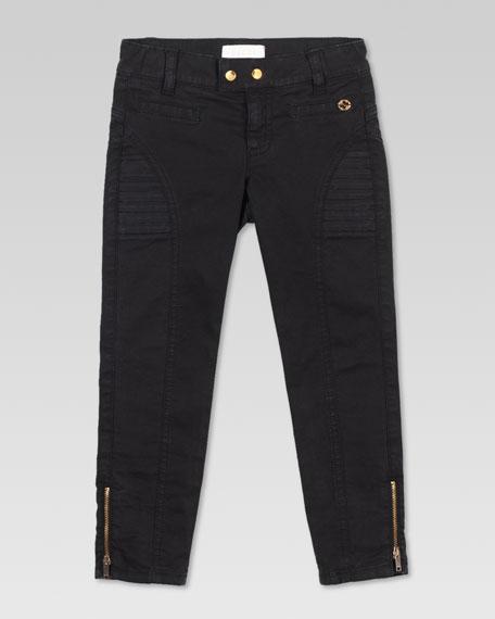 Stretch Drill Biker Pants, Black