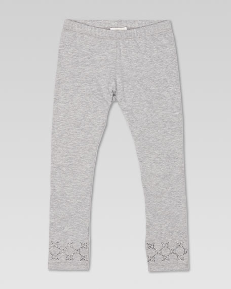 GG Stud Jersey Leggings, Light Gray