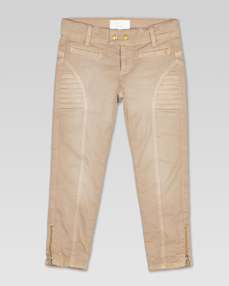 Stretch Drill Biker Pants, Beige