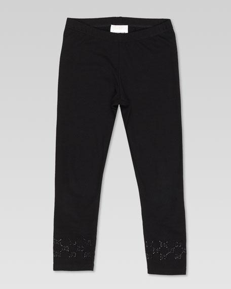 Stud-Trim Jersey Leggings, Black