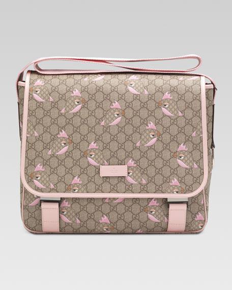 GG Zoo Birds Print Diaper Bag, Pink