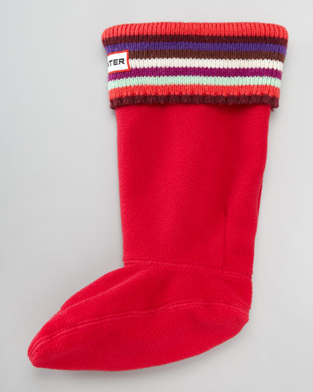 Striped Knit-Cuff Welly Sock, Red
