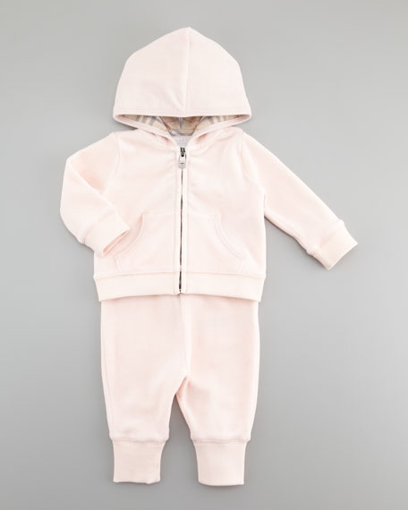 Check-Trim Velour Jogging Set, Ice Pink