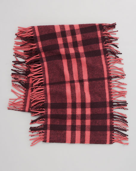 Happy Check Fringe Scarf