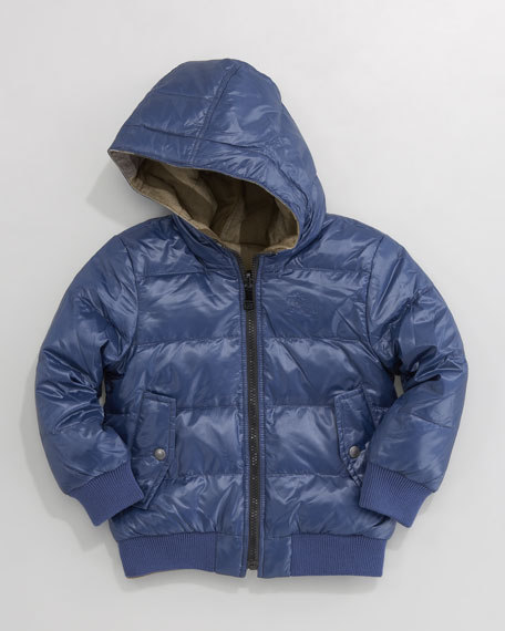 Reversible Quilted Coat, Dark Cobalt Blue