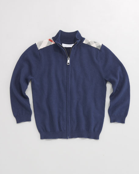 Check-Patch Zip-Front Sweater