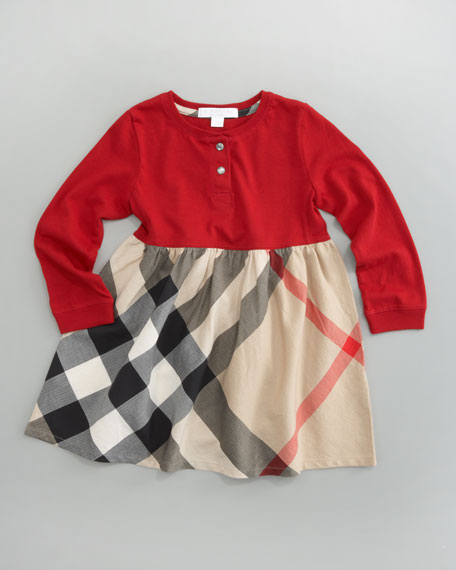 Henley Check-Skirt Dress, Military Red