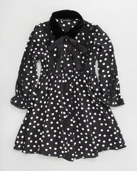 Velvet-Collar Dot Dress