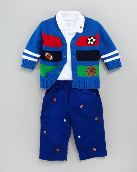 Sports Fan Embroidered Sweater, Polo & Pants Set