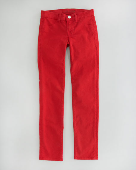 Luxe Twill Skinny Jeans, Red
