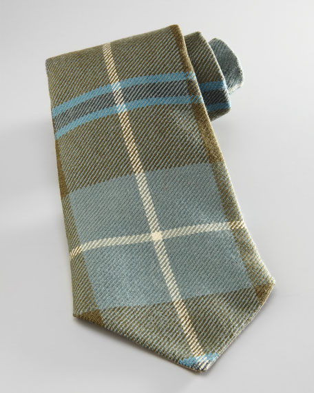 Boys' Plaid Flannel Tie, Khaki