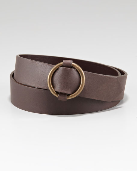 Circular Buckle Belt, Brown