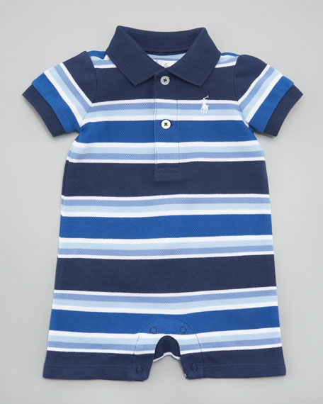 Striped Polo Shortalls, Blue Stripes