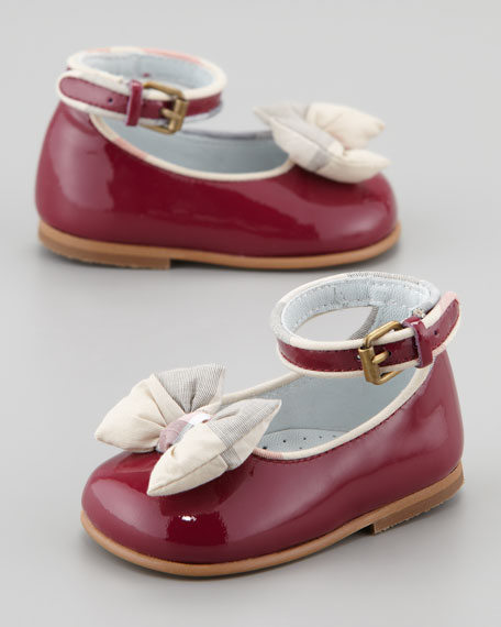 Newborn Patent Check-Bow Shoe, Raspberry Sorbet